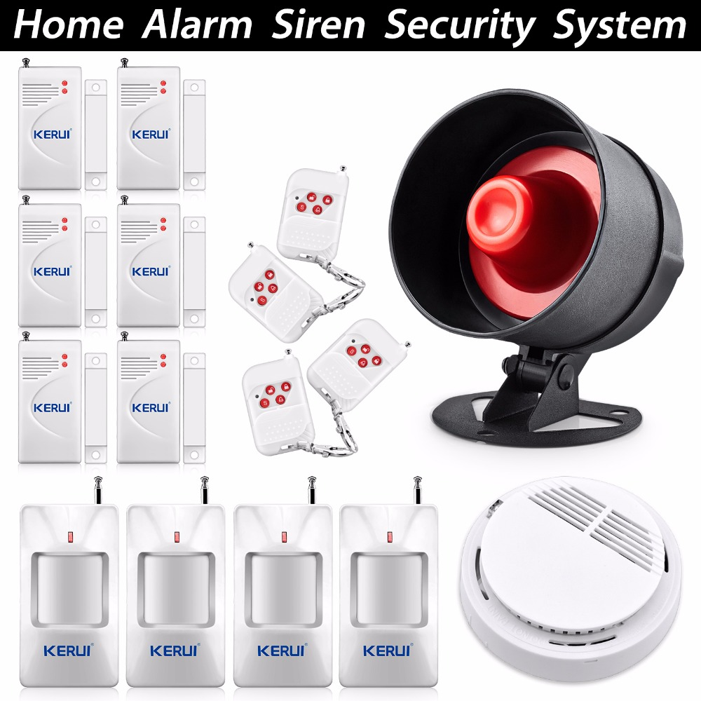 ФОТО KERUI Wireless Alarm House Siren Alarm Personal Security Alarm System  Easiest Control Setting with Smoke Detector