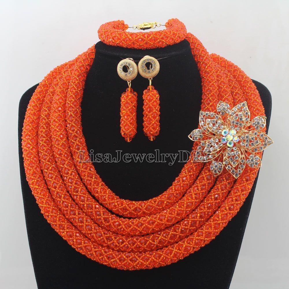 Classic Nigerian Wedding African Beads Jewelry Set Crystal Jewelry Set Costume Jewelry Sets Womens Jewellery Set HD7282