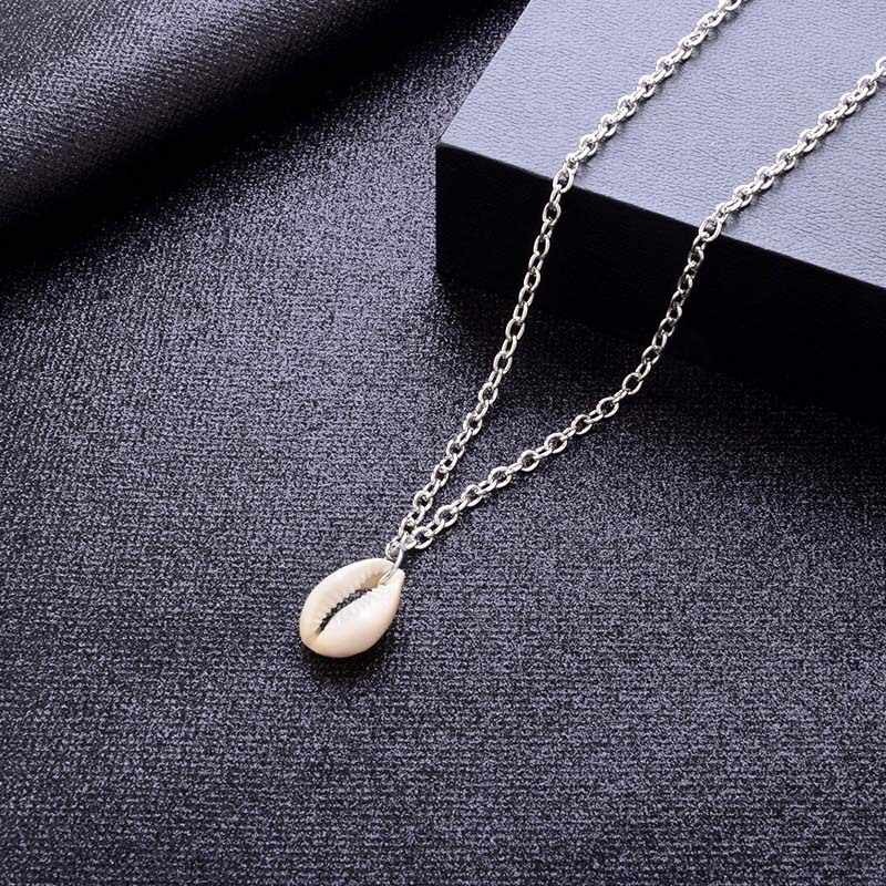Bohemian Cowrie Shell Pendant Necklace for Women Trendy Summer Ocean Sea Beach Necklaces Boho Shell Jewelry Link Chains