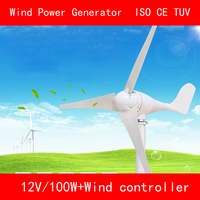 3 Blades DC12V 100W Aluminum Alloy Nylon Wind Power Generator With Wind Controller For Home CE