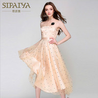 Runway 2017 Brand Women S Dresses Mesh Embroidery Dots A Line Patchwork Summer Female Elegant Champagne