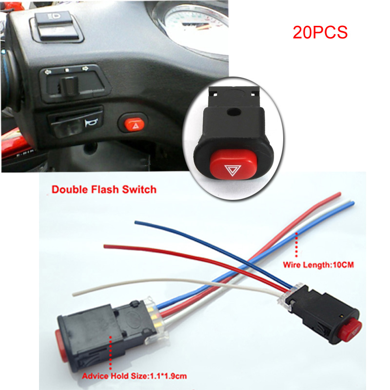 Youwinme Pcs Emergency Motorcycle Double Flash Switch Turn Signal Warning Button Lamp Flasher With Wires on Harley Turn Signal Wiring Diagram