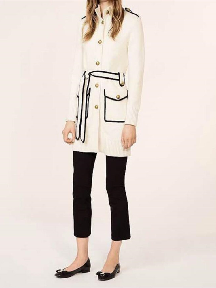 Suéter de punto blanco de punto largo cárdigan mujer de punto otoño e invierno abrigo y chaquetas con bolsillos de cinturón-in Caquetas de punto from Ropa de mujer    1