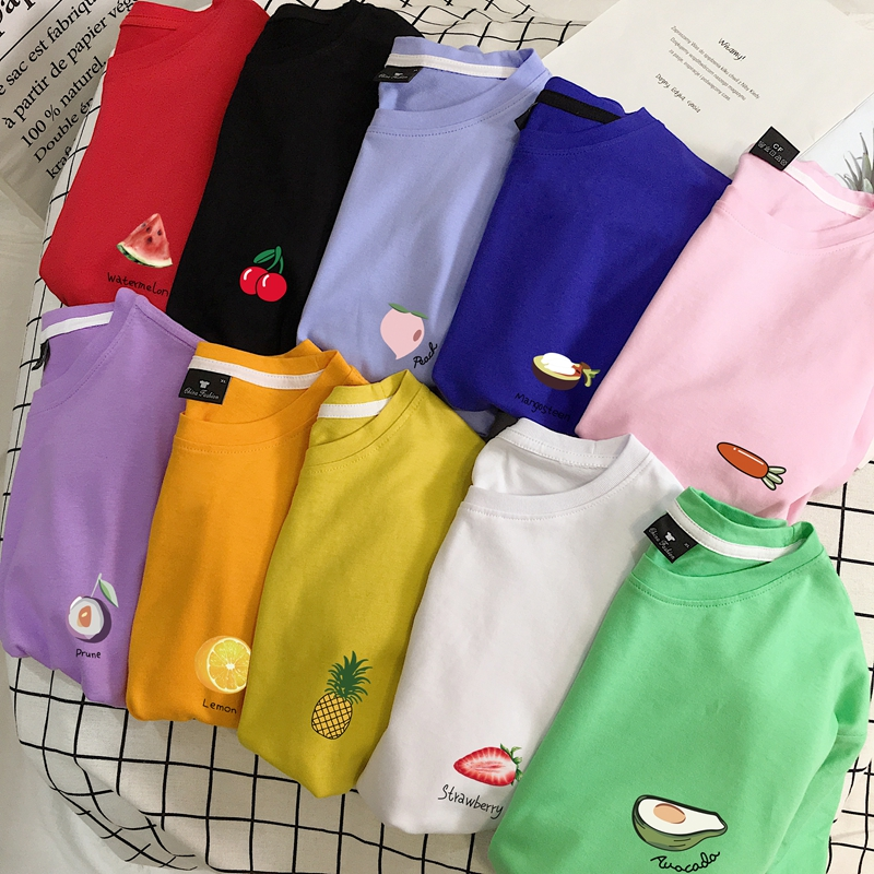 Summer Fruit College Wind Pure Cotton Korean Clothes Women T-shirts Men Couples Avocado Strawberry Cherry Harajuku Plus Size
