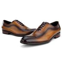 Одежда высшего качества черный/коричневый свадебные модельные туфли мужские оксфорды деловые туфли из натуральной кожи мужской социально