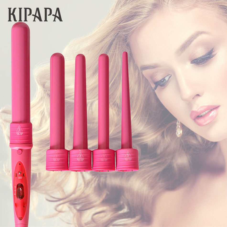 KIPAPA 5 In 1 Curling Wand Set 0.35-1.25 Inch Pink Ceramic Hair Wand Curling Iron 1pc Hair Curler With Heat Resistant Glove