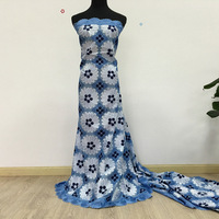 African Swiss Cotton Voile Lace High Quality, Sky Blue + White + Navy Blue 048 Free Shipping 5yards/Lot, 100% Cotton Lace Dress
