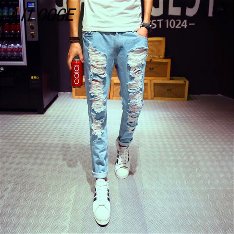 AILOOGE New Mens Jeans Brand Destroyed Hole Jeans Straight Mens Robin Jeans Slim Frayed  ...