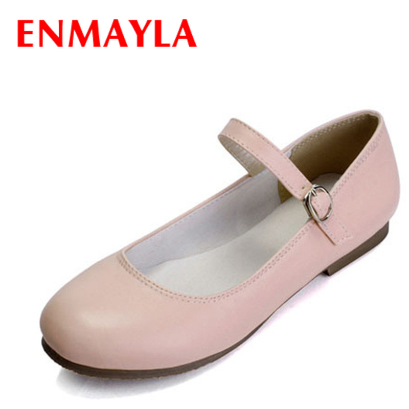 ENMAYLA Round Toe Women Flats Mary Janes Shoes Woman Fashion Ballerina Flats Dance Shoes Women Pink White Ladies Shoes Size 43