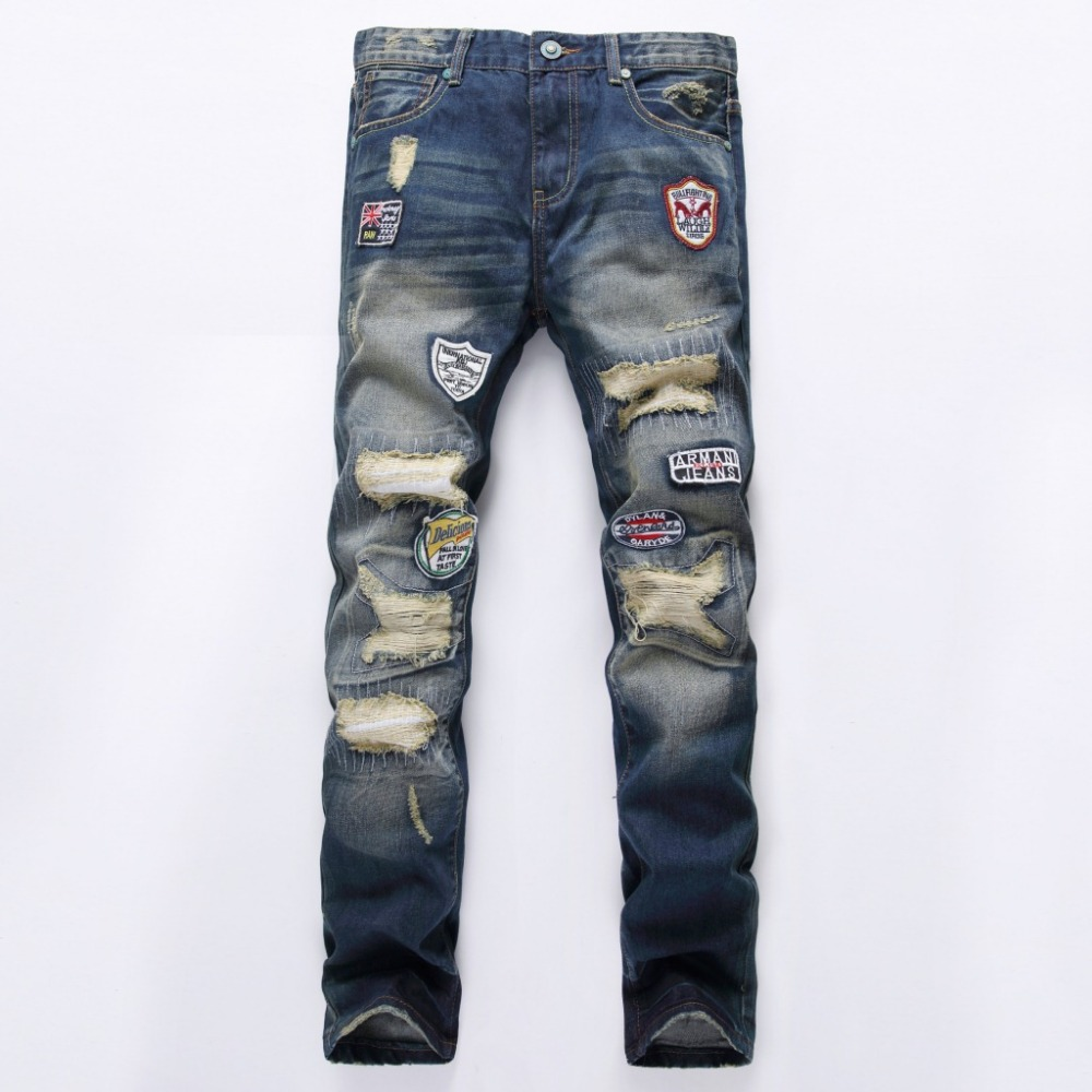 Personality Badge Patchwork Jeans Men Ripped Jeans Fashion Scratched Biker Jeans Hole Denim Straight Slim Fit locomotive Jeans newsosoo personality badge patchwork jeans mens ripped men jeans rap biker hole hip hop denim straight slim fit casual men pants