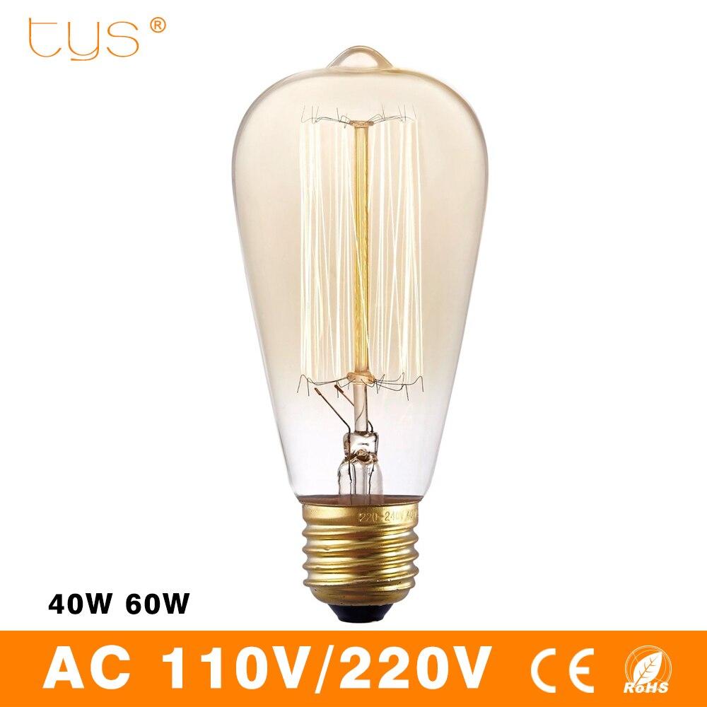 Лампа Эдисона ампулы старинные лампы Ретро лампа st64 e27 110 В 220 В лампа накаливания праздник 40 Вт 60 Вт нить накаливания лампы для дома