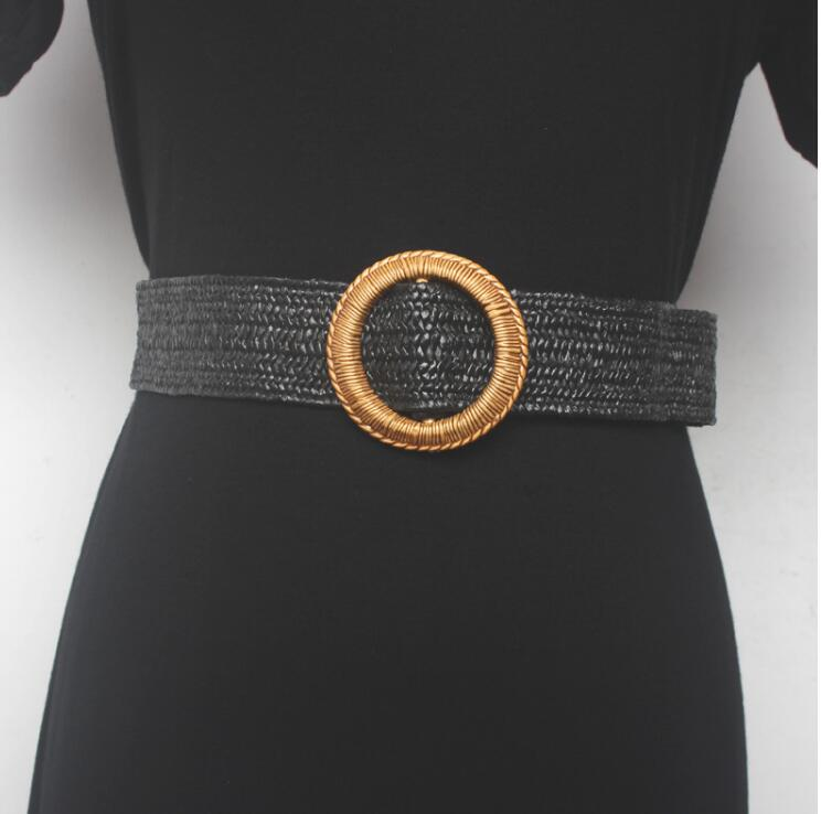 Women's Runway Fashion Round Buckle Knitted Cummerbunds Female Dress Corsets Waistband Belts Decoration Wide Belt R1531
