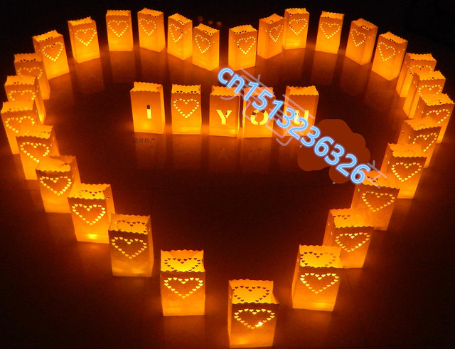 30 pcs NEW  Heart Tea light Holder Luminaria Paper Lantern Candle Bag For BBQ Christmas Party Wedding