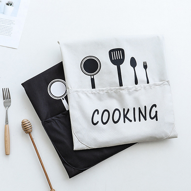 Image 4 - 1Pcs Striped Waterproof Polyester Apron Woman Adult Bibs Home Cooking Baking Coffee Shop Cleaning Aprons Kitchen Accessory 46212-in Aprons from Home & Garden