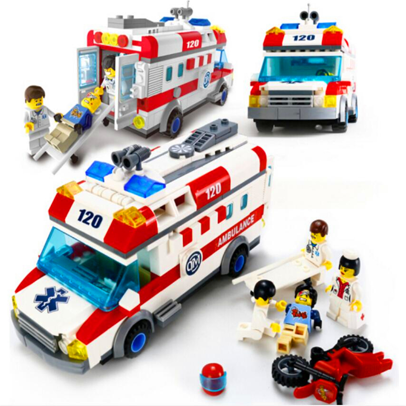 Iluminar 1118 de la ciudad de ambulancia de emergencia coche bloques de construcción de ladrillo conjunto Compatible legión juguetes para los niños