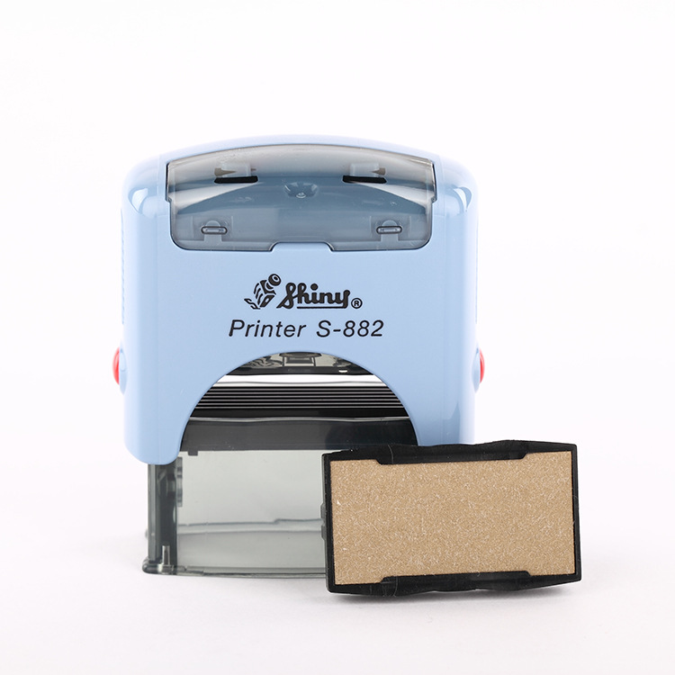 Taiwan 38x14mm Shiny S-882 Self Inking Rubber Stamp Seal Office Stationary Business Mini Active Letters Digitals Particles Stamp 10 digit 9 wheels gray light blue rubber band self inking numbering stamp