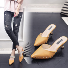 Womens Slippers 2019 Summer New Fashion High Heel Pointed Patent Leather Rivet Casual Women