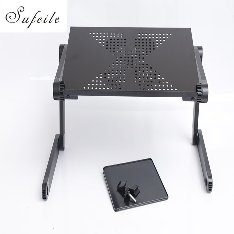 New Folding Laptop Notebook Table Desk Portable Adjustable Laptop Stand Desk With Cooling Holes Mouse Board For Bed Sofa SE20