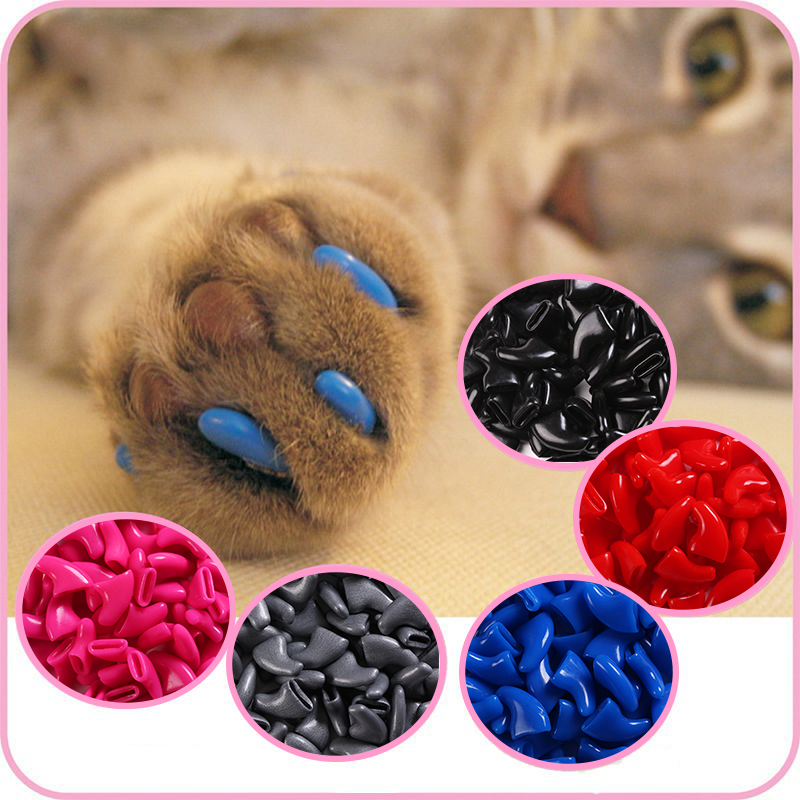 100 Pcs - Cats Kitten Paws Grooming Nail Claw Cap+5 Adhesive Glue+5 Applicator Soft Rubber Pet Nail Cover/Paws Caps Pet Supplies