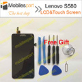 Lenovo S580 LCD Screen Black 100% Original LCD Display +Touch Screen For Lenovo S580 Smartphone in stock Free Shipping