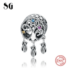 SG New 925 Sterling Silver Charms Dream catcher Beads Fit Original pandora bracelets fashion DIY Jewelry making for women gifts sg new arrival 925 sterling silver charms dream catcher beads with cz fit pandora bracelets diy jewelry making for women gifts