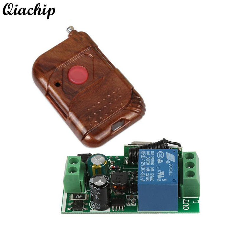 Universal Wireless 433MHz AC 110V 220V RF Relay Receiver Remote Control Switch Learning Code Button 433 mhz 1 CH Remote Controls