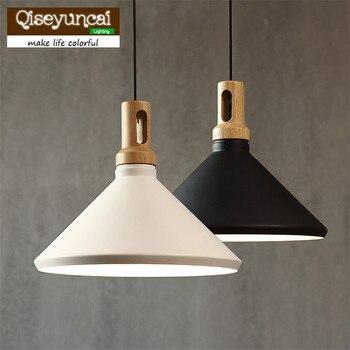 Qiseyuncai Retro Loft Đơn đầu hình nón Đèn Chùm rắn gỗ nhôm đèn chùm cá nhân phòng khách chiếu sáng