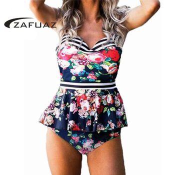 2020 Push Up Bikini Women Swimwear Brazilian Vintage Floral Stripe Print Swimsuit Sexy Ruffle Bathing Suit Tankini Plus Size 3XL цена 2017