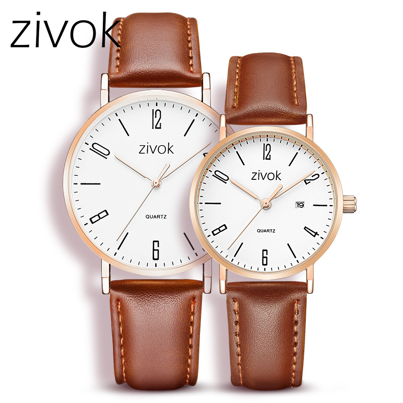 zivok Lovers Watch Simple Top Brand Leather Couple Watch for Women Men Quartz Wrist Watches Clock Hourzivok Lovers Watch Simple Top Brand Leather Couple Watch for Women Men Quartz Wrist Watches Clock Hour