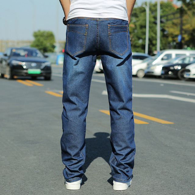 Mens Loose Fit Skateboard Jeans Homme Blue Streetwear Jeans for Men