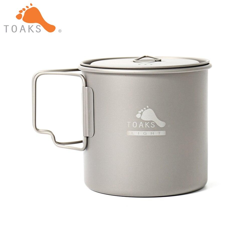 TOAKS POT-650-L tasse en titane pur Version ultralégère 0.3mm tasse extérieure avec couvercle et poignée pliable ustensiles de cuisine de Camping 650 ml 80g