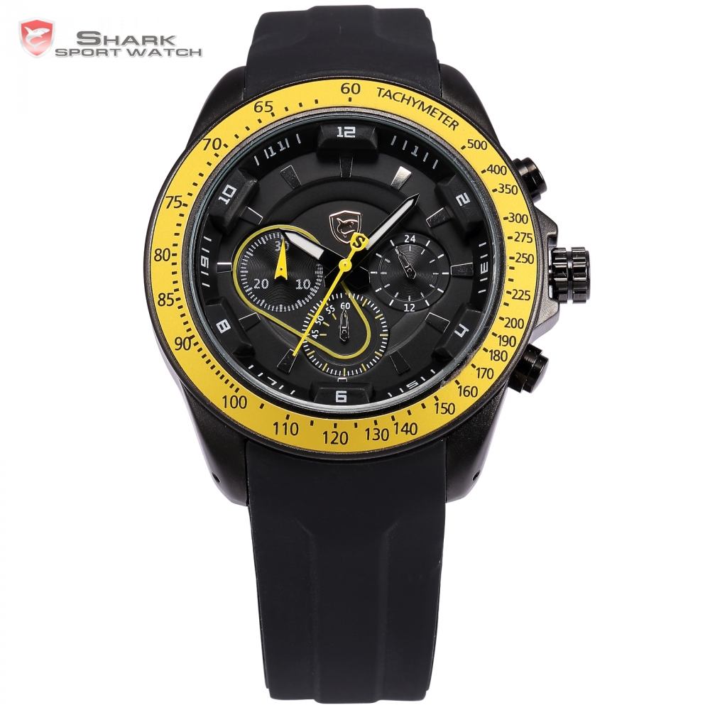 snapper shark sport watch black yellow chronograph silicone rubber band clock military montre. Black Bedroom Furniture Sets. Home Design Ideas