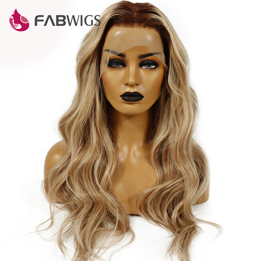 Fabwigs 180% Density Lemi Color T4/27/613 Lace Front Human Hair Wigs Pre Plucked Brazilian Wavy Human Hair Wigs with Baby Hair