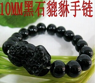 Black Copy Jade Stones Pixiu Charm Bracelets For Good Luck Meaning Chinese Carved Jewelry Feng