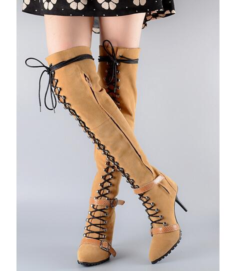 где купить 2017 Autumn and Winter Good Quality Suede Lace Up High Heel Long Boots Over the Knee Side Zipper Buckle Strap Thigh High Boots по лучшей цене