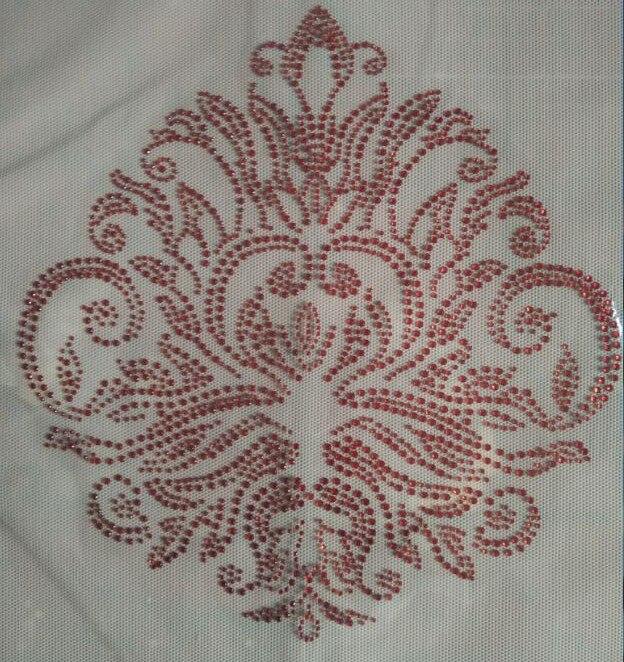 2pc/lot Big red flower rhinestones motif hot fix rhinestone transfer motifs iron on patches  applique for shirt