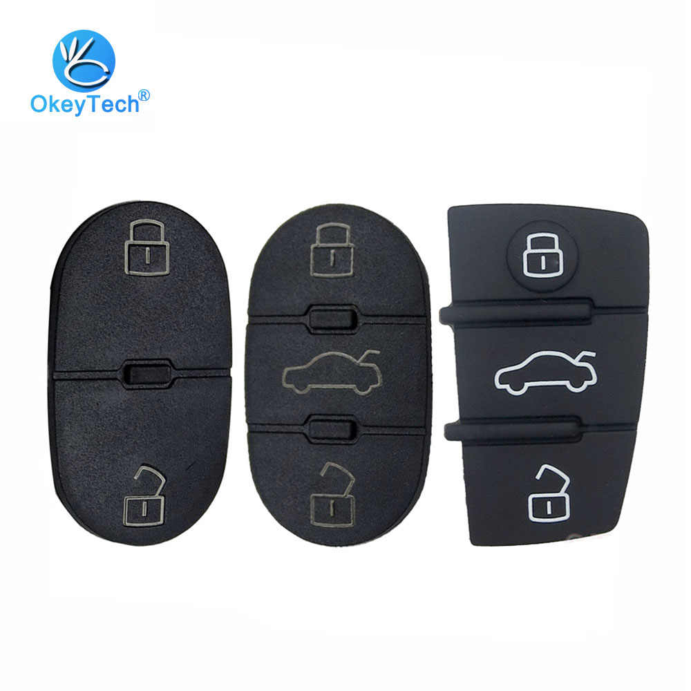 OkeyTech for Audi Key Pad 2/3 Button Replacement Remote Key Shell Fob Cover Case Repair Pads For Audi A3 A4 A5 A6 A8 Q5 Q7 TT