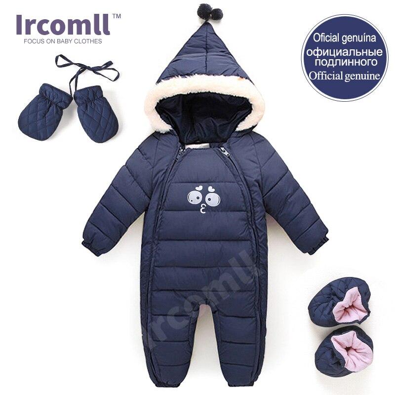 Пух хлопка Комбинезоны для малышек зима толстые костюм для мальчиков Обувь  для девочек теплый зимний детский комбинезон детская верхняя одежда для  малышей ... f157677ada5b6