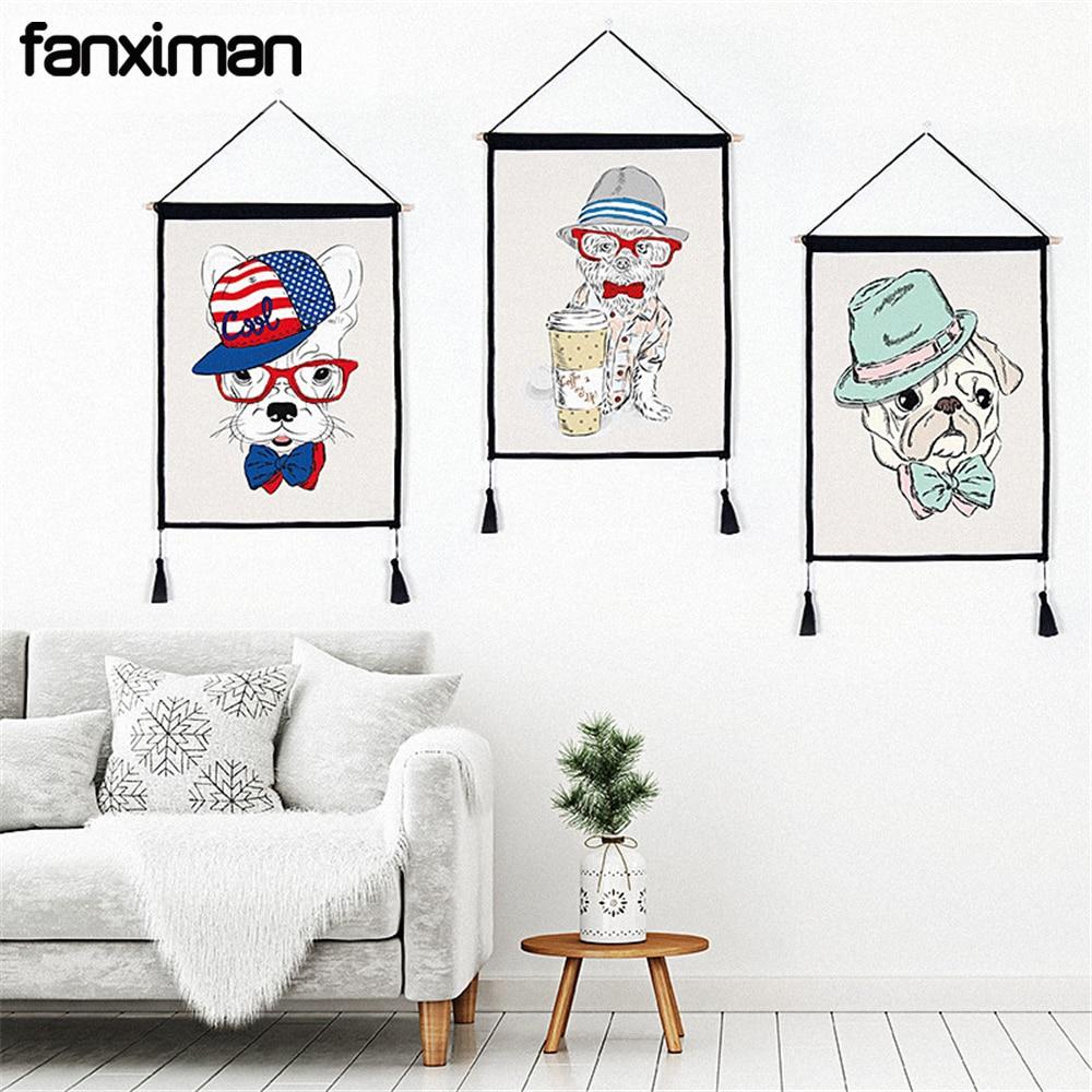 Personalisierte Französisch Bulldog Terrier Druck Malerei Wohnzimmer Dekor  Schlafzimmer Wand Hängen Gemälde Wandteppich Mit Quasten