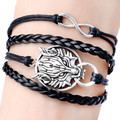 New Cool Retro Alloy Jewelry Black Braided Leather Multilayer Bracelet Wolf  Bracelet  Bangle For Women Men