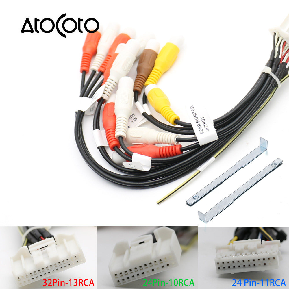 Online Shop 24pin Car Stereo Radio Rca Output Wire Harness Wiring Adapters Atocoto 24 32 Pin Adapter Cable For Pioneer Avic F940bt