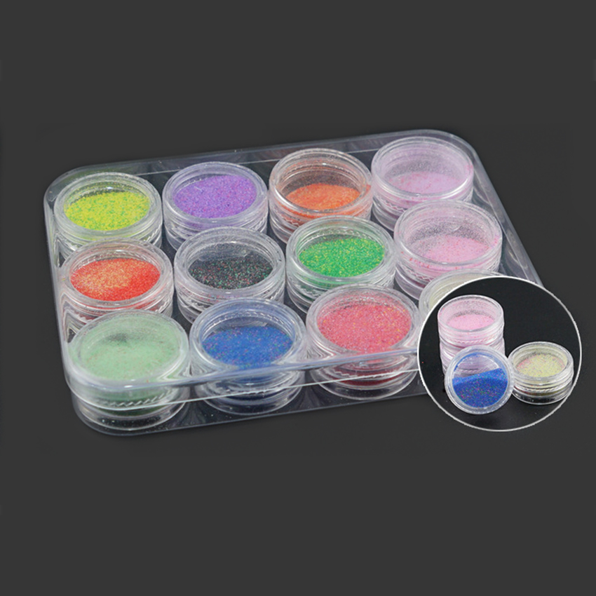 Nail Storage Box Case Kit 12Pcs Acrylic Empty Round Storage Container Display Holder Rhinestone Jewelry Beads Manicure Nail Art