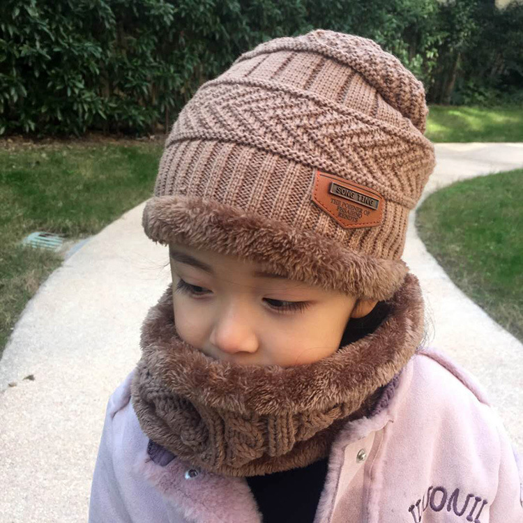 Children Hat Korean Version Of The Fall And Winter Boy Plus Velvet Ear Baby Winter Warm Hat Girls Scarf Two Piece Set Tide