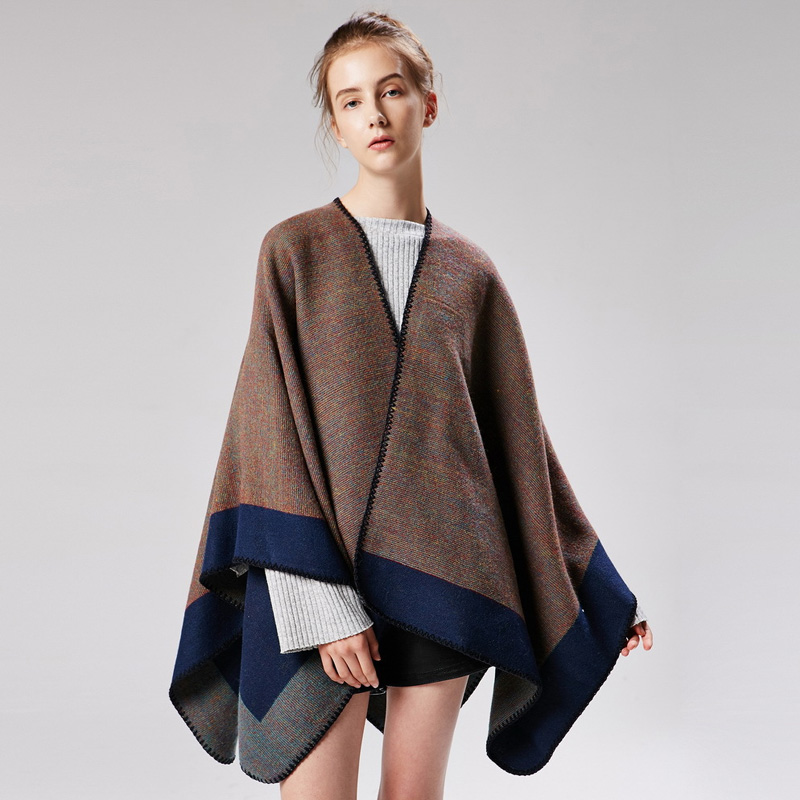 ZDFURS*Winter Scarf Cachecol Women Double Face Cashmere Poncho and Capes 2018 New Foulard Fashion Luxury Brand Shawl For Women