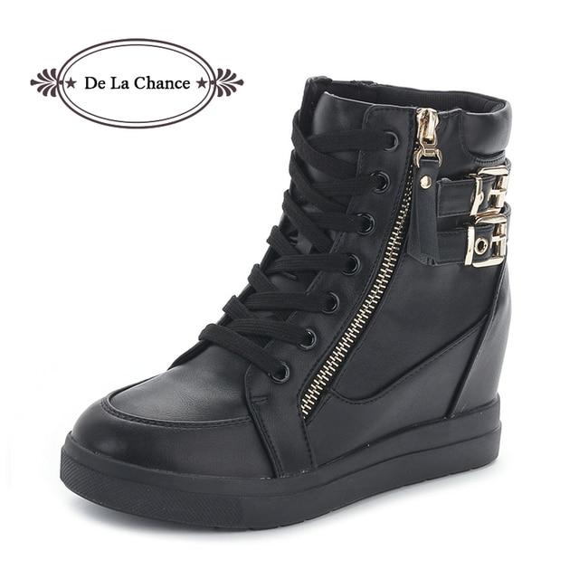 b22639d3896e17 High Top Platform Women Shoes 2017 Spring Autumn Korean Buckle Zipper  Hidden Heel Fashion Wedge Casual Shoes Flats Woman Black