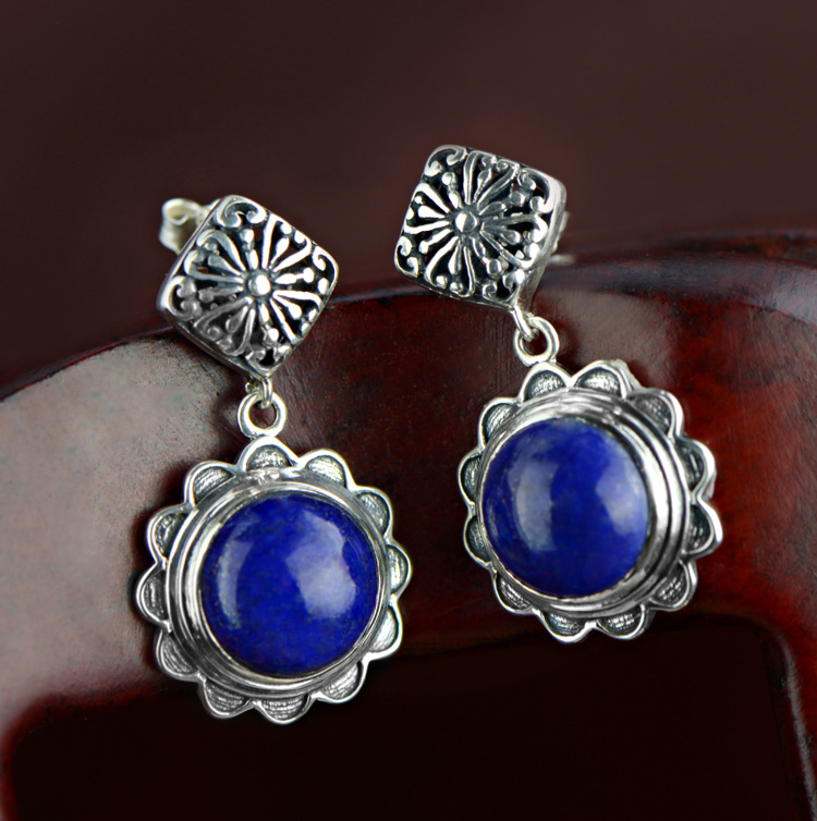 Retro 100% 925 Sterling Silver Drop Earrings For Women Natural Lapis Lazuli Stones Vintage Thai Silver Earring Jewelry 2017 new s925 silver coins necklace natural semi precious stones lapis lazuli retro ethnic style tassel pendant women jewelry