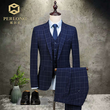 2018 New Blue lattice blazer Groomsmen Suits Slim Fit Mens Wedding Dress Prom Dinner Suit Groom Tuxedos 3piece jacket pant vest