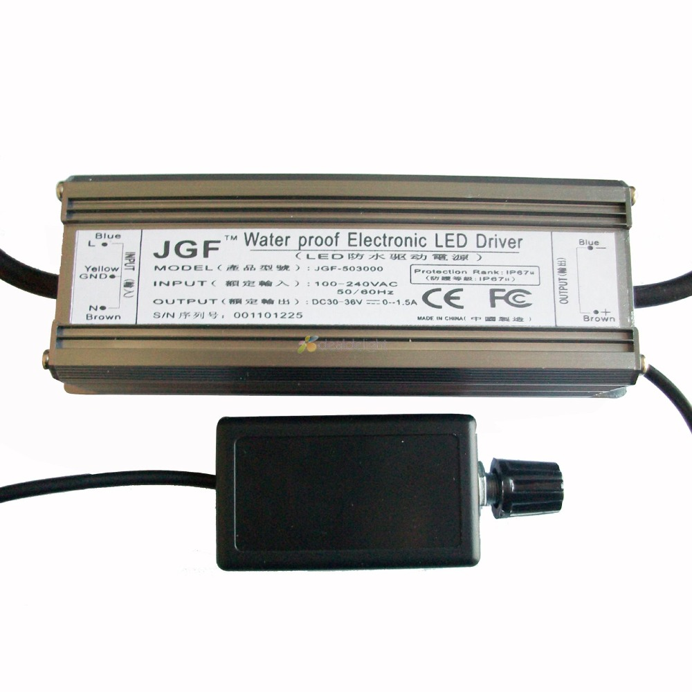 ФОТО 50W Dimmable Constant Current LED Driver IP67 Waterproof AC100 230V to DC30 36V 1500mA for  Power Light