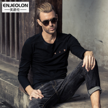 Enjeolon brand solid t shirts Mens,Long Sleeve cotton Clothing, button fly T-Shirts Slim Tops Tee RST1760-1 free shipping