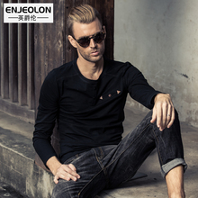 Enjeolon brand solid t shirts Mens Long Sleeve cotton Clothing button fly T Shirts Slim Tops